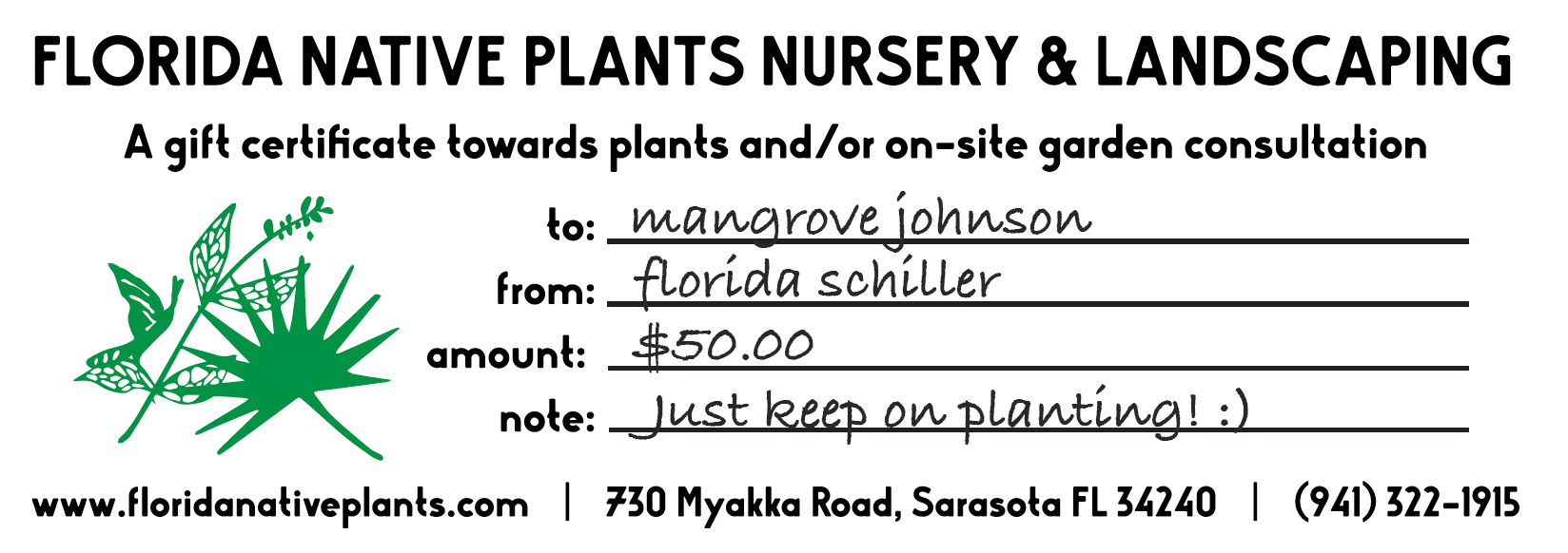 Florida Native Plants Gift Certificate